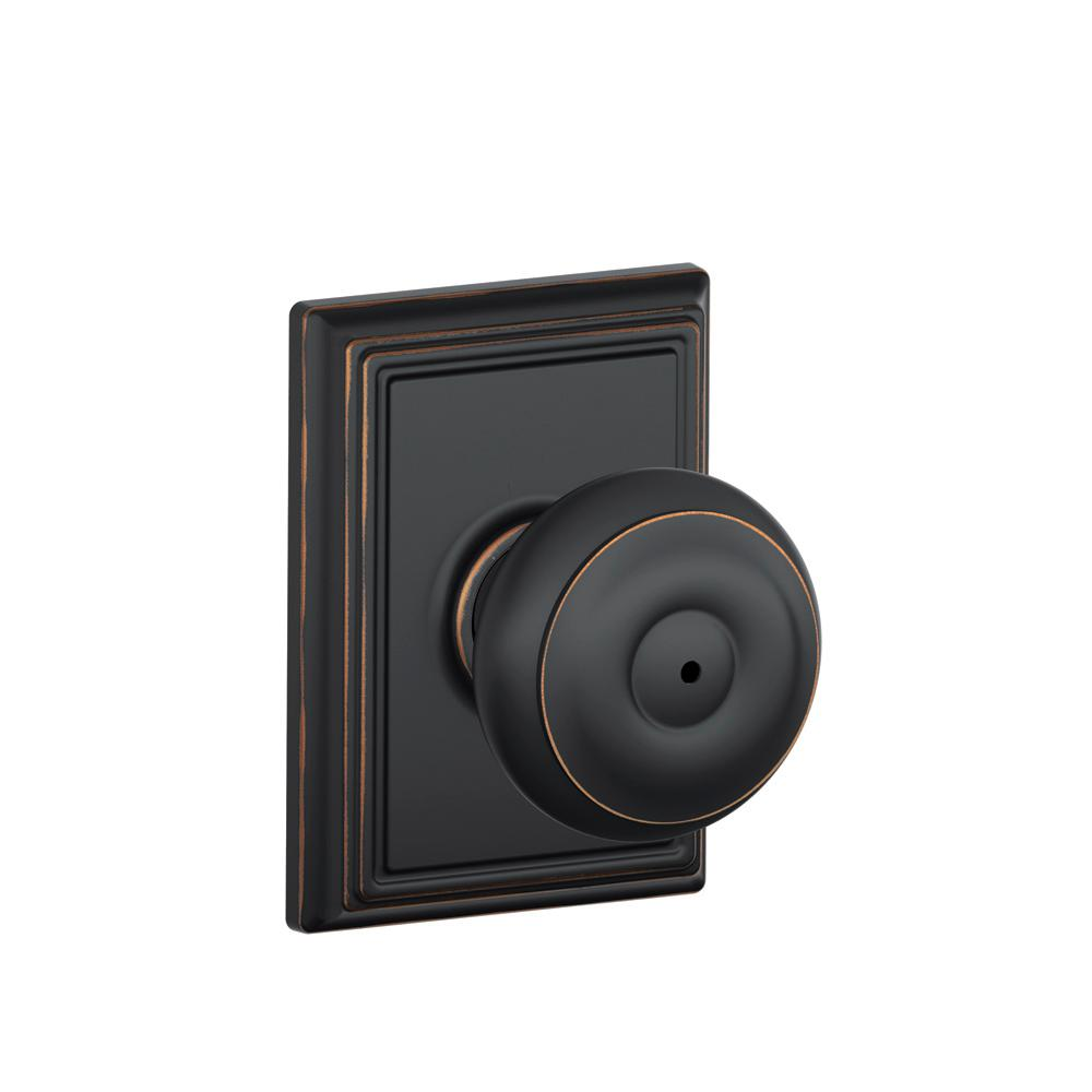 Schlage Georgian Aged Bronze Privacy Bed Bath Door Knob With Addison Trim F40 Geo 716 Add The