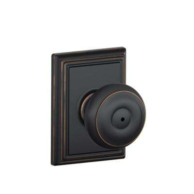 Georgian Aged Bronze Privacy Door Knob with Addison Trim