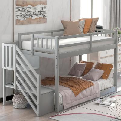 Gray with Storage Twin Over Twin Floor Bunk Bed