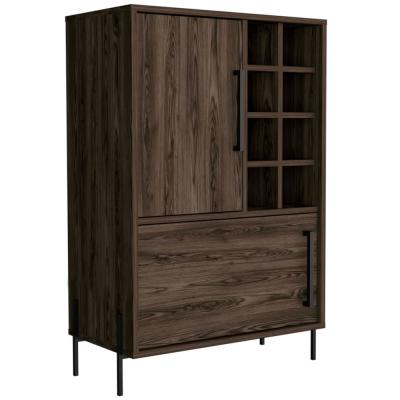 Page 37 in. x 24 in. Natural Wood Bar Cabinet with Storage Compartments for Wine Spirits and Glasses