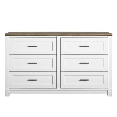 Fall River 6-Drawer White Dresser 32 in. H x 54 in. W x 15.75 in. D