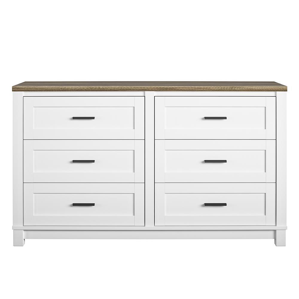 Fall River 6-Drawer White Dresser 32 in. H x 54 in. W x 15.75 in. D