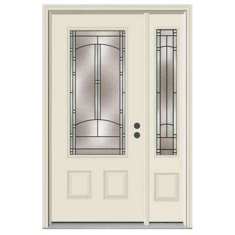 52 in. x 80 in. 3/4 Lite Idlewild Primed Steel Prehung Left-Hand Inswing Front Door with Right-Hand Sidelite