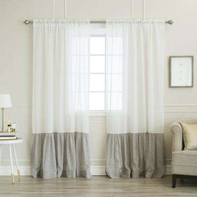 84 in. L White Linen Look Rod Pocket Grey Ruffle Block Curtain (2-Pack)