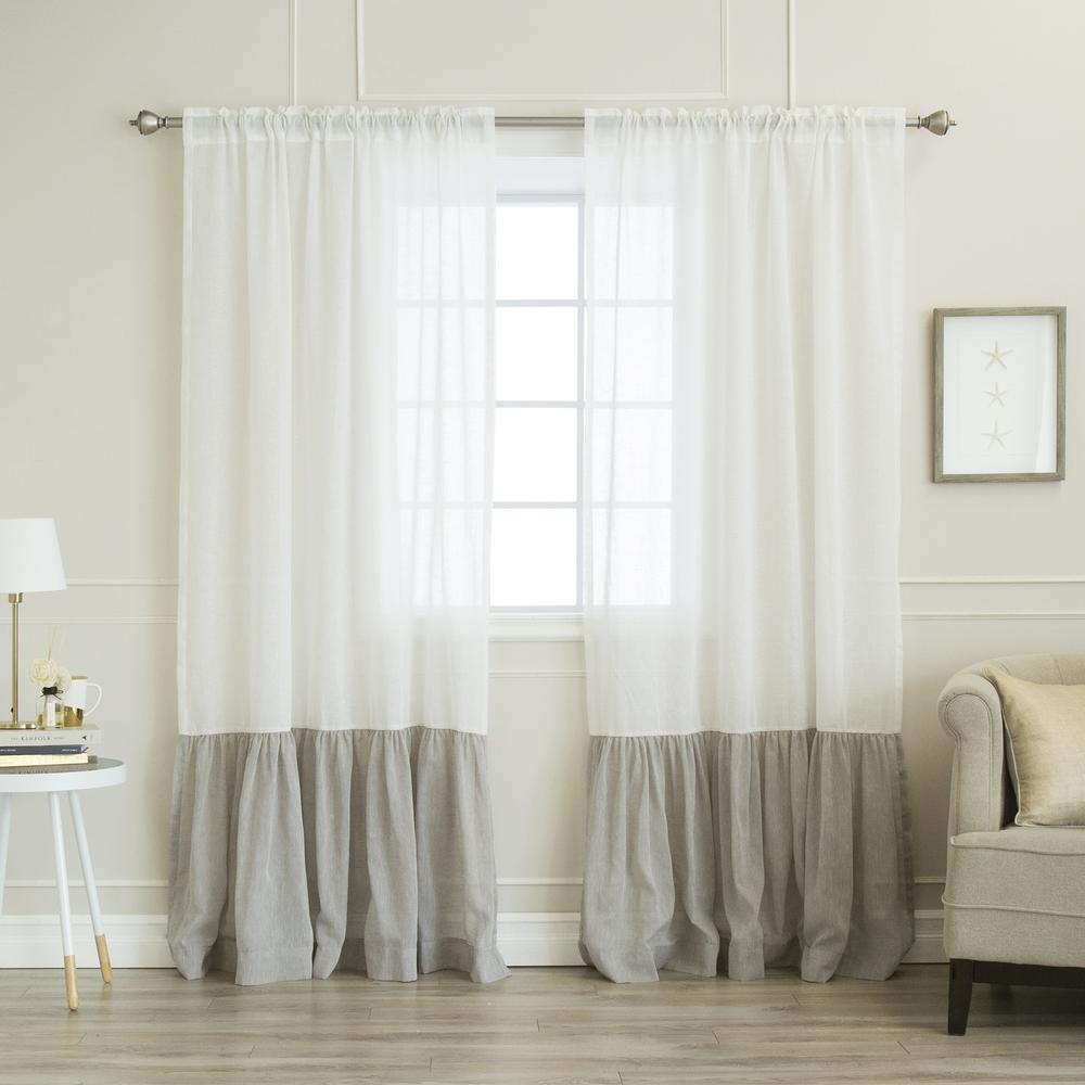 84 in. L White Linen Look Rod Pocket Grey Ruffle Block Curtain (2