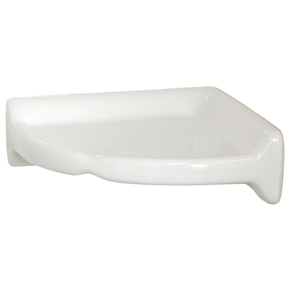 Restore 8.5 in. W Ceramic Wall Mounted Corner Shower Shelf Tile in White