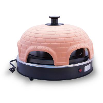 6 Person Countertop Mini Pizza Oven with Real Terracotta Dome and Dual Heating Elements