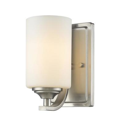 Barr 1-Light Brushed Nickel Wall Sconce with Matte Opal Glass