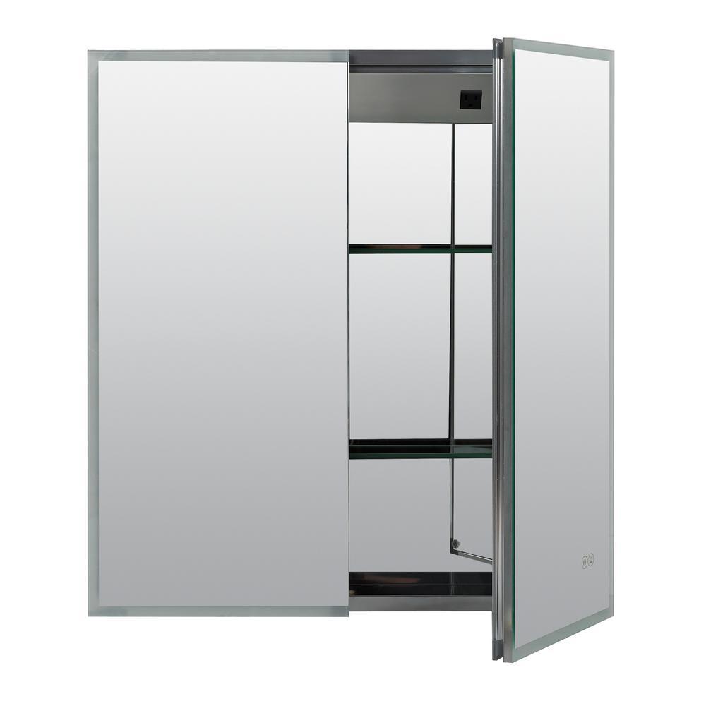 25.6 in. W x 27.6 in. H Designer Series Home Edge-Lit Framed LED Mirror Medicine Cabinet in Aluminum, Bi-View