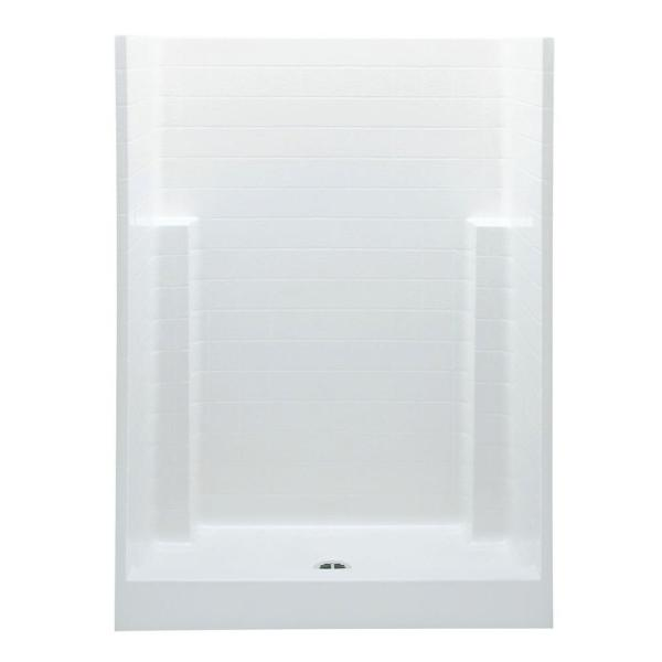 Everyday Textured Tile 54 in. x 27.5 in. x 72 in. 1-Piece Shower Stall with Center Drain in White