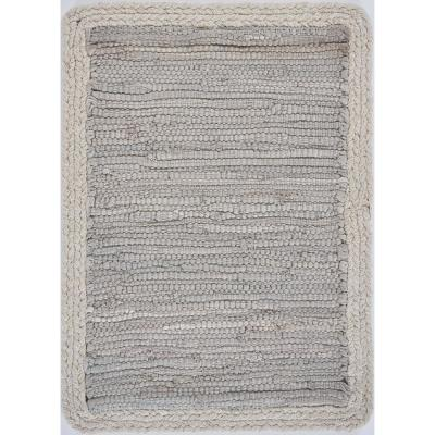 19 in. x 13 in. Bordered Light Gray Placemat (Set of 4)