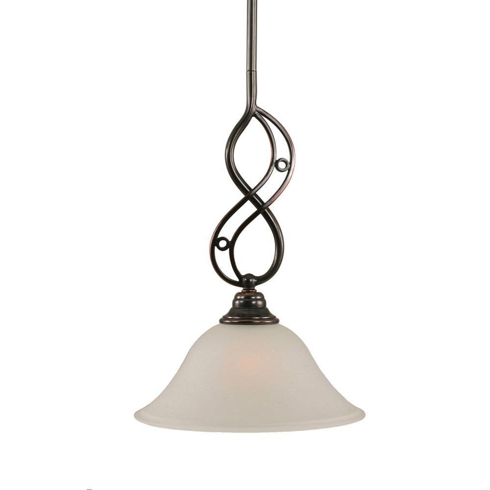 1-Light Black Copper Pendant with Dew Drop Glass