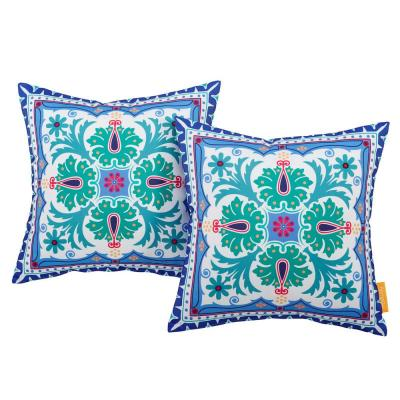 Patio Square Outdoor Throw Pillow Set in Clover (2-Piece)