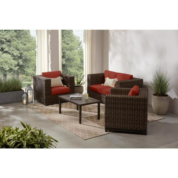 Fernlake 4-Piece Taupe Wicker Outdoor Patio Deep Seating Set with Sunbrella Henna Red Cushions