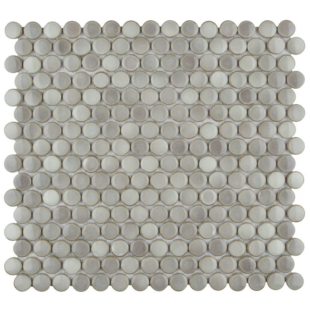 Merola Tile Hudson Penny Round Dove Grey 12 In X 5 8