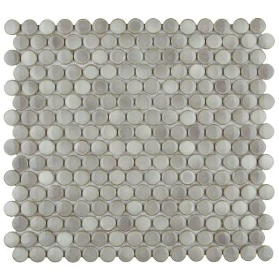 Hudson Penny Round Dove Grey 12 in. x 12-5/8 in. x 5 mm Porcelain Mosaic Tile
