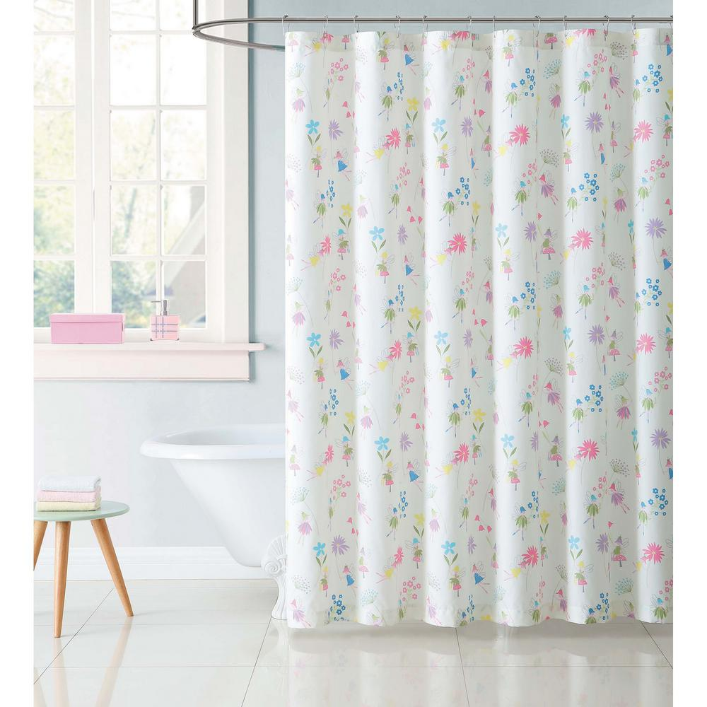 Kids 72 in. Garden Multi Fairies Shower Curtain