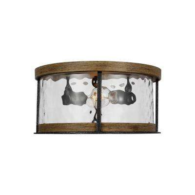 Angelo 13.75 in. 2-Light Distressed Weathered Oak and Slate Gret Metal Flush Mount with Thick Wavy Glass Shade