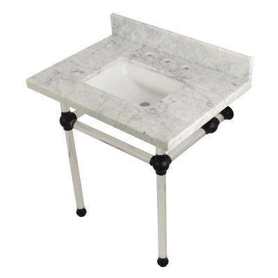 Square-Sink Washstand 30 in. Console Table in Carrara Marble with Acrylic Legs in Matte Black
