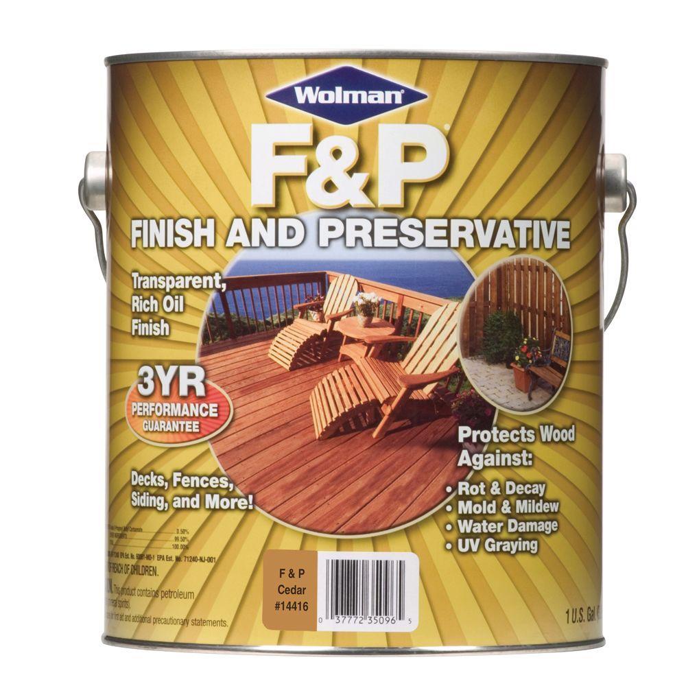 F&P Finish & Preservative 1-gal. Oil-Based Cedar Deep-Penetrating Semi-Transparent Exterior Wood Stain-DISCONTINUED