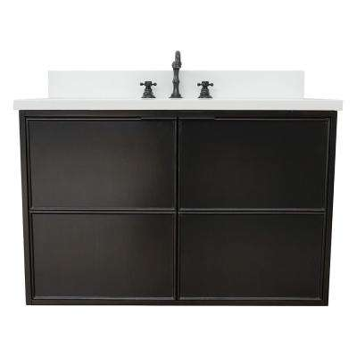 Scandi IV 37 in. W x 22 in. D Wall Mount Bath Vanity in Cappuccino with Quartz Vanity Top in White with White Oval Basin