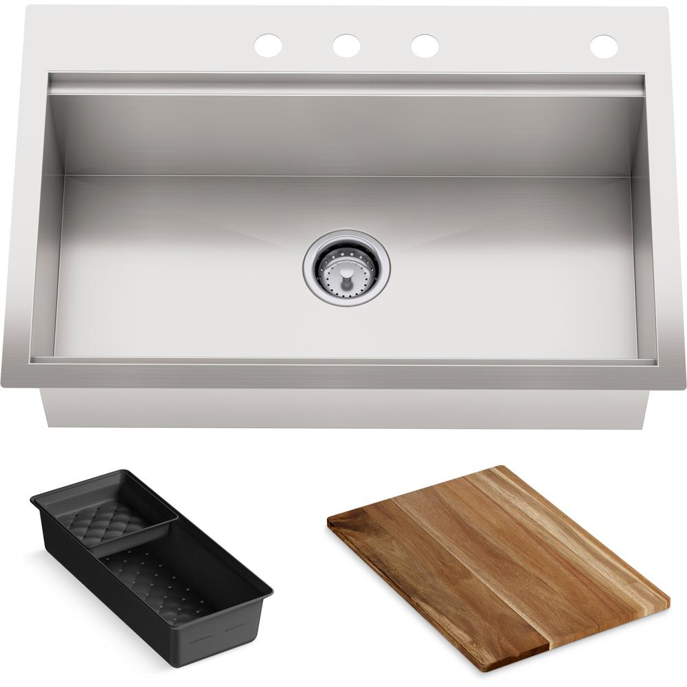 Lyric Dual Mount Workstation Stainless Steel 33 in 4-Hole Single Bowl Kitchen Sink with Integrated Ledge and Accessories