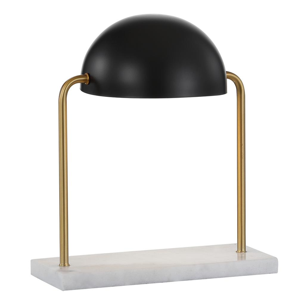 Jonathan Y Porter 13 5 In Art Deco Dome Lamp With Marble Base Brass Gold Black