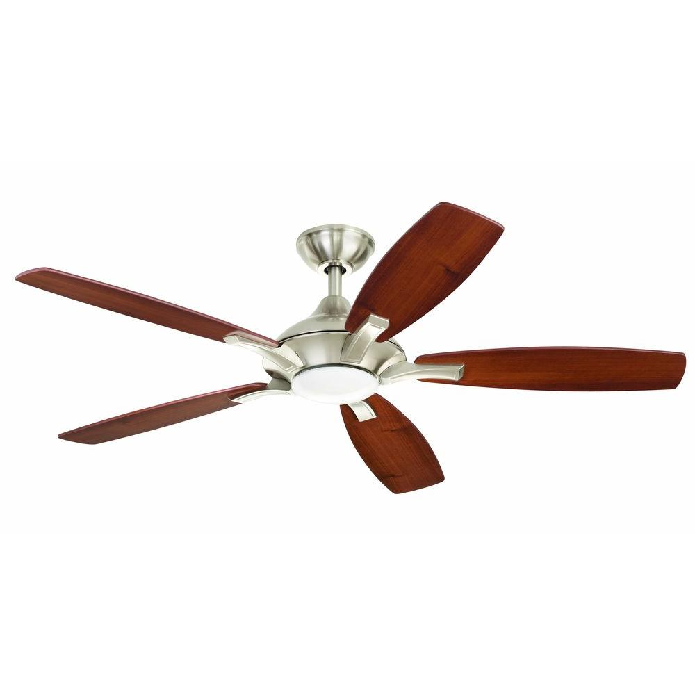 Home Decorators Collection Petersford 52 In Led Indoor Brushed Nickel Ceiling Fan With Light