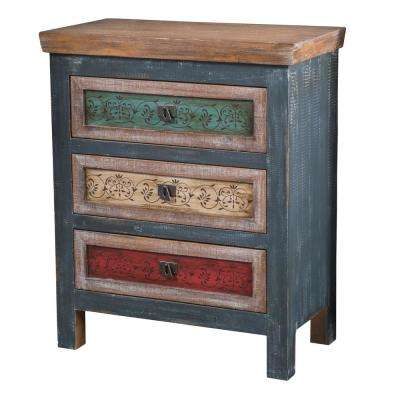 Distressed Multicolored 3-Drawer Cabinet