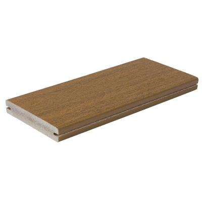 Symmetry 1 in. x 5-1/4 in. x 1 ft. Warm Sienna Grooved Edge Capped Composite Decking Board Sample