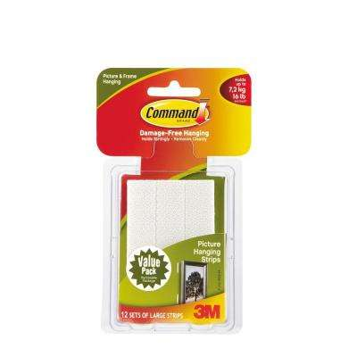 Large White Picture Hanging Adhesive Strips (12-Adhesive Strips)