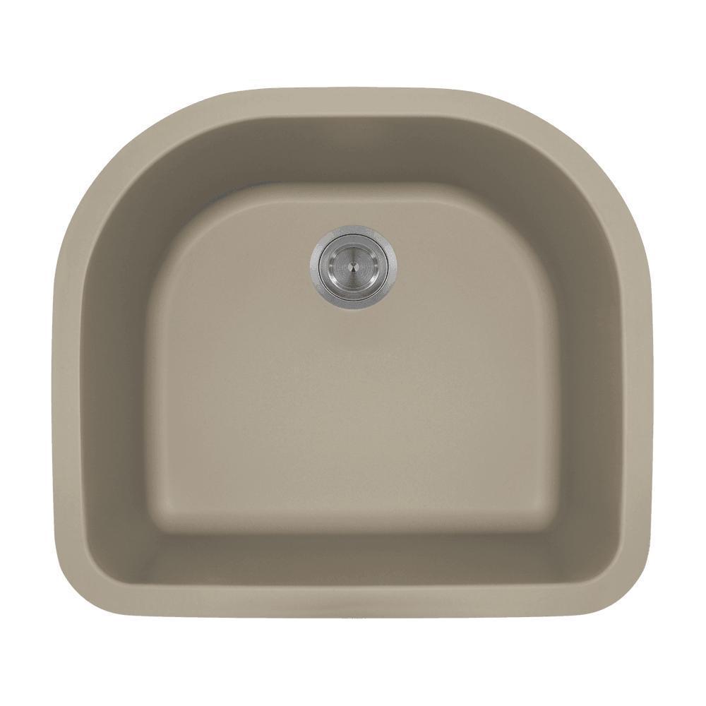 Undermount Quartz 24.75 in. 0-Hole Single Bowl Kitchen Sink in Slate