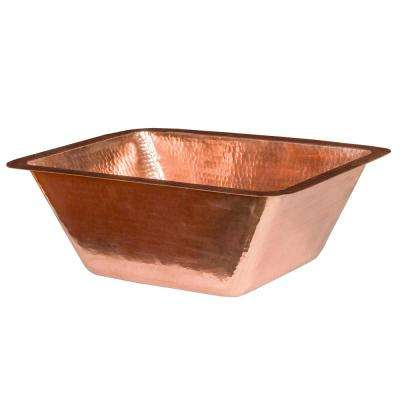 Under Counter Rectangle Hammered Copper 17 in. Bathroom Sink in Polished Copper