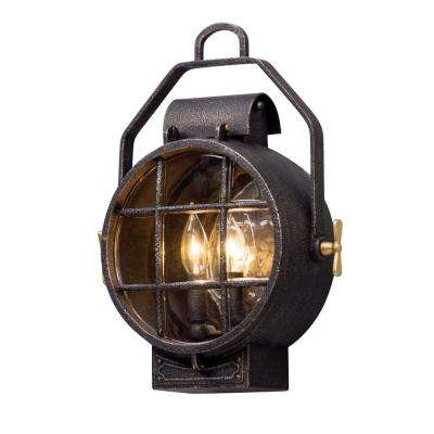 Point Lookout 2-Light Aged Silver with Polished Brass Accents Outdoor Wall Mount Sconce