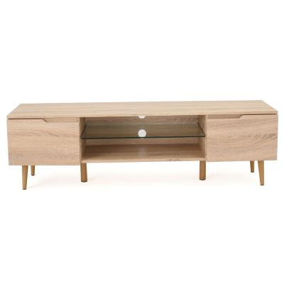 59 in. Oak Wood TV Console Fits TVs Up to 56 in. with Storage Doors
