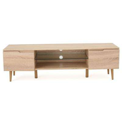 Natural Brown TV Console with Glass Shelf and Drawer