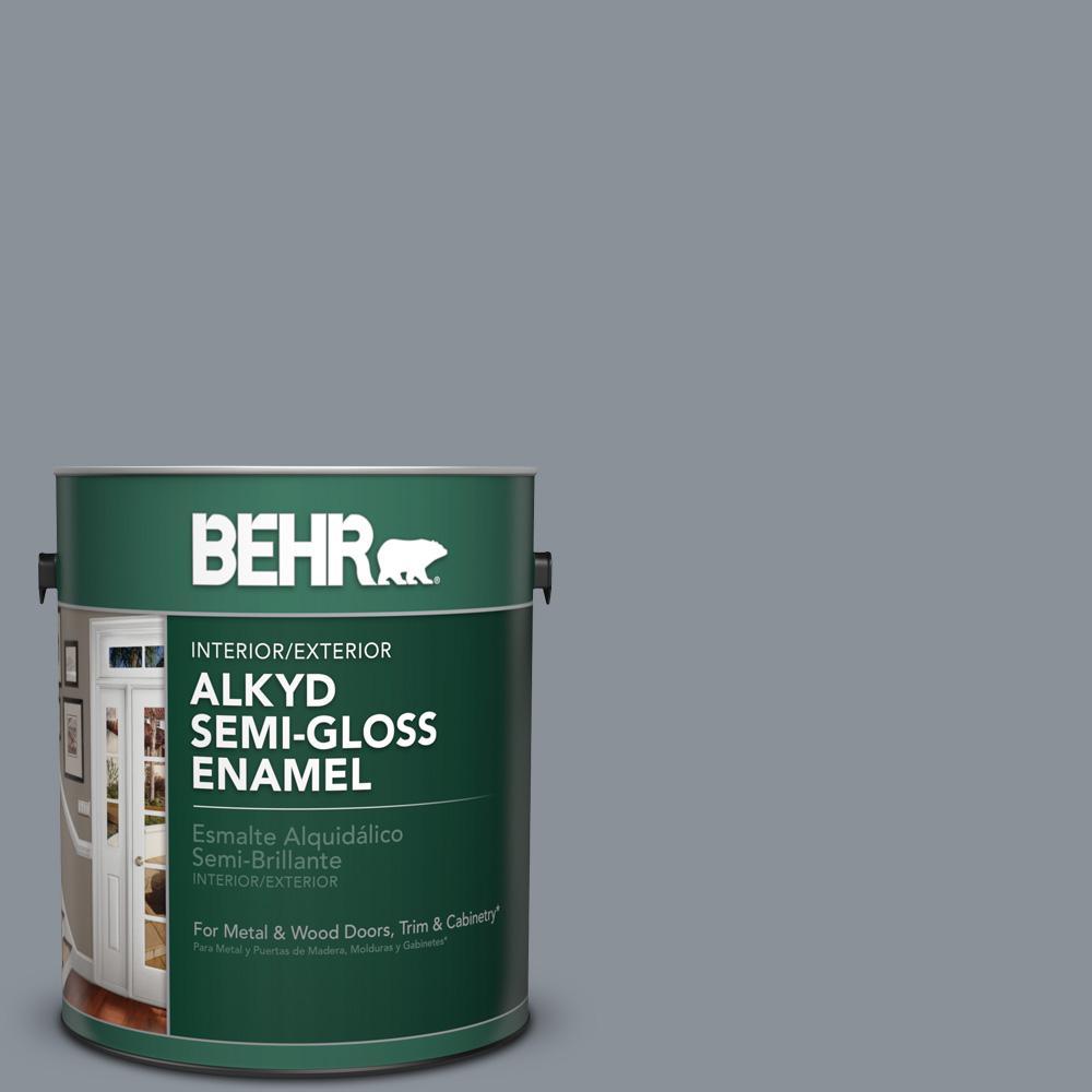 1 gal. #PPU18-4 Dark Pewter Semi-Gloss Enamel Alkyd Interior/Exterior Paint