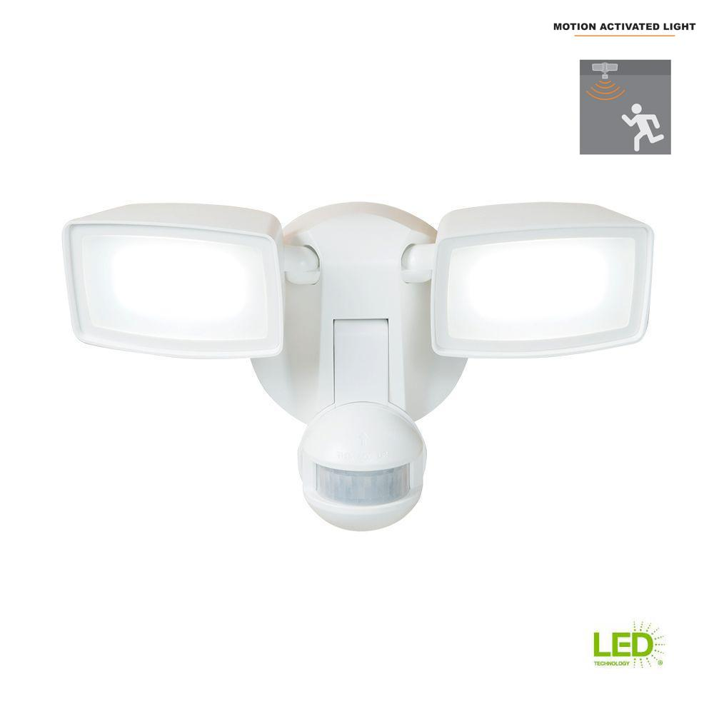 180 Degree White Dual Position Motion Activated Sensor Outdoor Integrated Led Flood Light