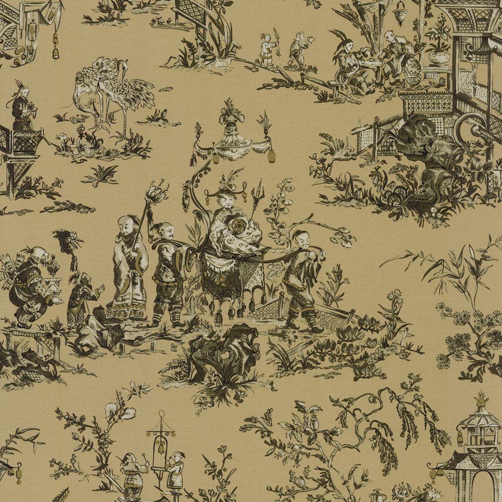 The Wallpaper Company 56 sq. ft. Black and Beige Figurative Toile Wallpaper