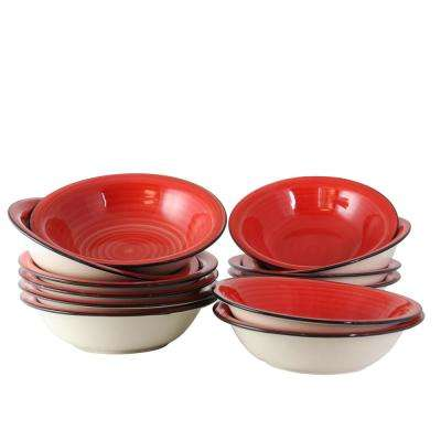 Color Vibes 8.25 in. Red Bowls (Set of 12)