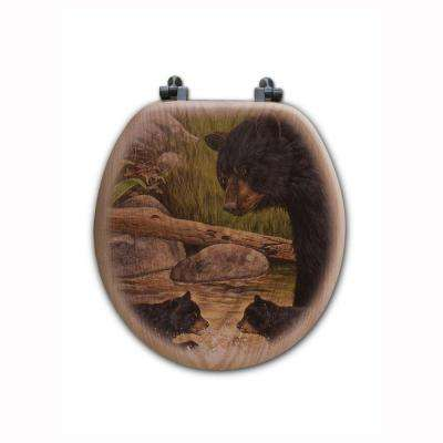 Bear Creek Gang Round Closed Front Wood Toilet Seat in Oak Brown