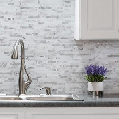 11.75 in. x 12 in. Metal and Composite Peel and Stick Backsplash in Marble Shine