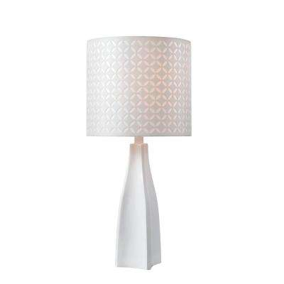 Desiree 25 in. White Accent Lamp with White Patterned Die Cut Shade