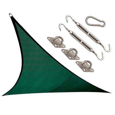 Coolhaven 18 ft. x 18 ft. Heritage Green Triangle Shade Sail with Kit