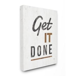 30 in. x 40 in. ''Get It Done Distressed Texture White Wood Look Canvas Wall Art'' by Marla Rae