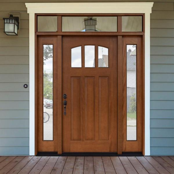 Steves Sons 64 In X 80 In Craftsman 3 Lite Arch Stained Mahogany Wood Prehung Front Door With Sidelites And Transom M4151 1210 Aw 4rh The Home Depot