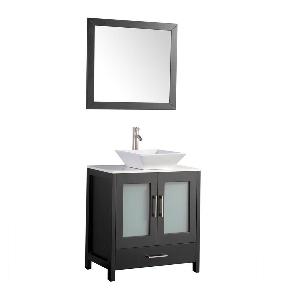MTD Vanities 24 in. W x 18.5 in. D x 36 in. H Vanity in Espresso with Quartz Vanity Top in Off-White with White Basin and Mirror
