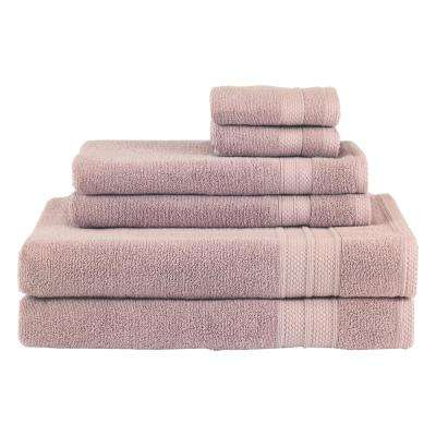 Solid 6-Piece Mauve Towel Set
