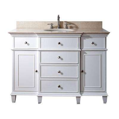 Windsor 48 in. W x 22 in. D x 35 in. H Vanity in White with Marble Vanity Top in Galala Beige and White Basin