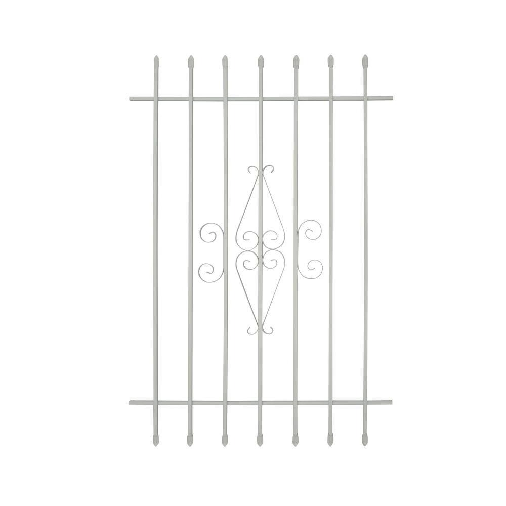 Grisham 36 in. x 54 in. Spear Point 7-Bar Security Bar Window Guard, White